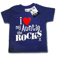 Dirty Fingers - I Love my AUNTIE she Rocks x - Baby & Toddler T-shirt 24-36 months, Navy: Amazon.co.uk: Clothing