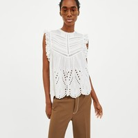 EMBROIDERED BLOUSE WITH PERFORATIONS