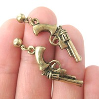 Detailed Revolver Gun Pistol Shaped Small Dangle Stud Earrings in Bronze from DOTOLY