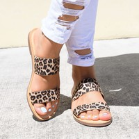 Double Strap Cheetah Flat Sandals