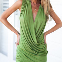 V Neck  Asymmetric Sleeveless Dress