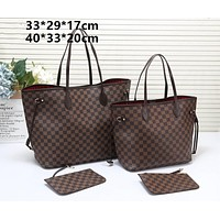 LV tide brand female classic chessboard old flower large capacity shopping bag shoulder bag two-piece coffee check