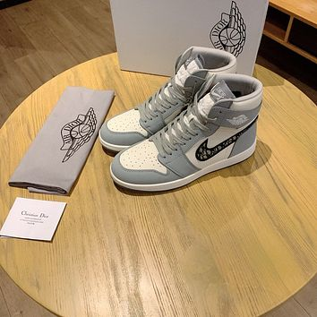 Dior x AJ1 Men's And Women's Leather Fashion High Top Sneakers Shoes