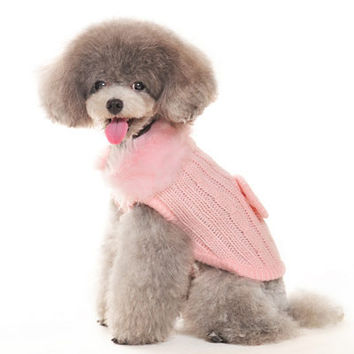 Luxy Faux Fur Dog Sweater - Pink, by Dogo Pet Fashions