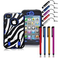 "NEW!! HOT HOT HOT! Jersey Bling (TM) Zebra Defender Hybrid Fusion Hard Back Protective Hybrid Iphone 4/4s Case/Cover COMBO w/FREE Metallic 4"" Stylus & 1 Mini Dust Plug Touch Pen in Pink Purple Blue & More (Blue)"