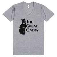 The Great Catsby (V-Neck)-Unisex Athletic Grey T-Shirt