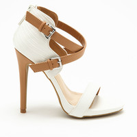 WHITE CRISS CROSS ANKLE STRAP HEELS
