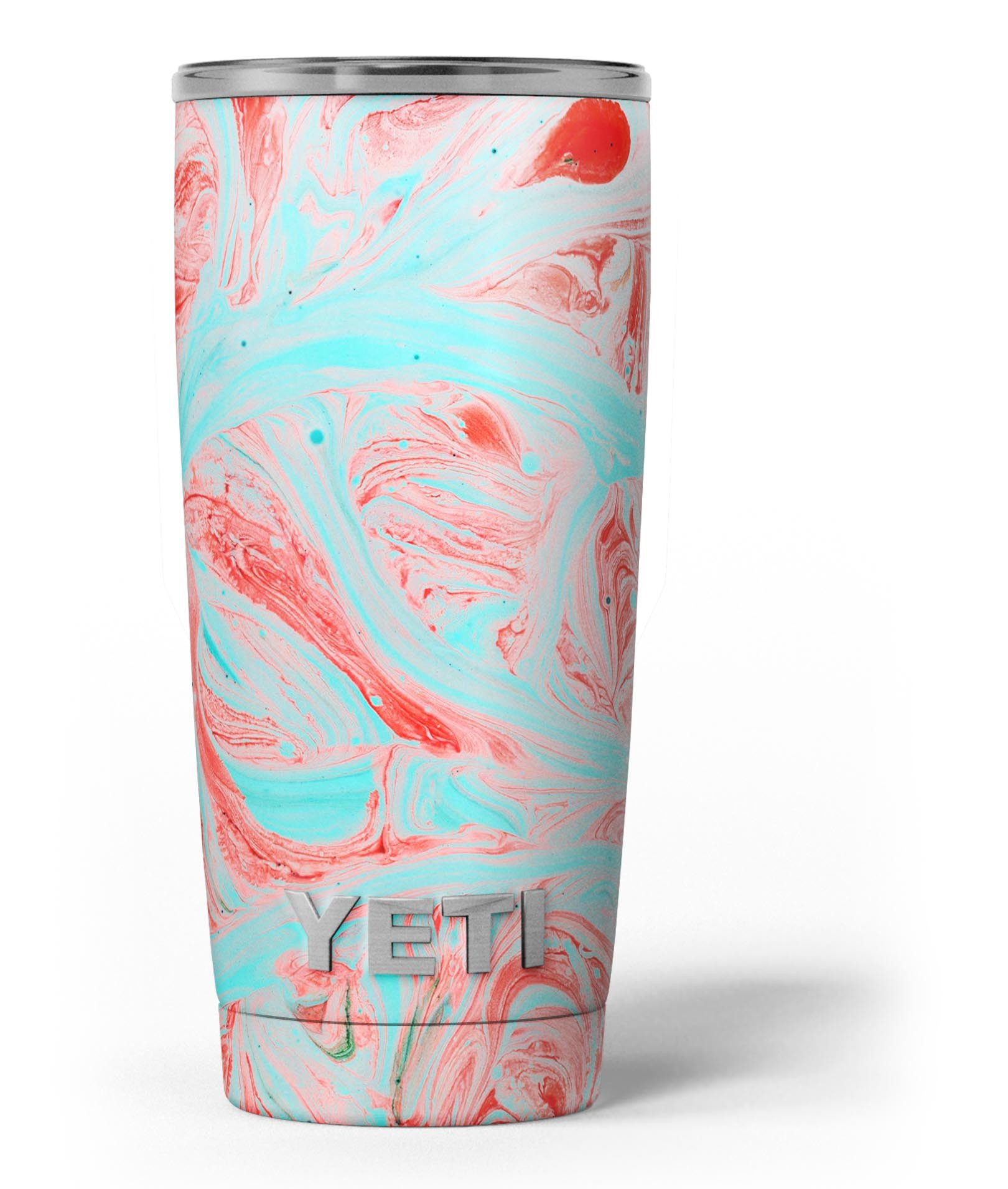 Image of Swirling Pink and Mint Acrylic Marble - Skin Decal Vinyl Wrap Kit compatible with the Yeti Rambler Cooler Tumbler Cups