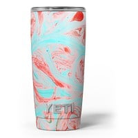 Swirling Pink and Mint Acrylic Marble - Skin Decal Vinyl Wrap Kit compatible with the Yeti Rambler Cooler Tumbler Cups