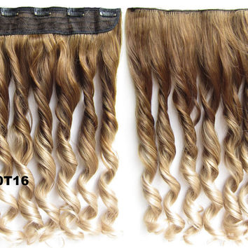 """Dip dye hairpieces New Fashion 24"""" Women Clip in on gradient wig Bath & Beauty Hair Ombre Hair Extensions Two Tone Curly Hair Gradient Hair Extension Colorful Hairpieces GS-888 10T16,1PCS"""