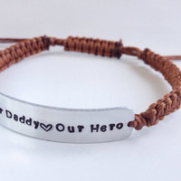 personalised mens ID cord bracelet hand stamped fathers day dad gift for him
