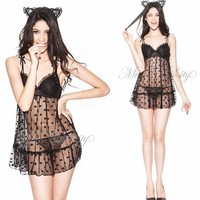 On Sale Cute Hot Deal Sexy Lovely Dress With Steel Wire Cotton Cup Underwear Transparent Hot Sale Exotic Lingerie [6595915523]