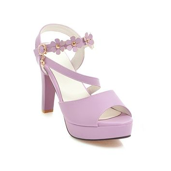 Flower Chunky Heels Platform Sandals for Women 7655