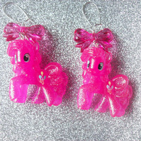 Super Pink Glitter Pinkie Pie and Bow Charm Earrings