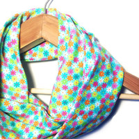 Floral Infinity Scarf - infinity scarf teal scarf infinity scarves colorful scarf circle scarf fashion scarf tube scarf winter scarf