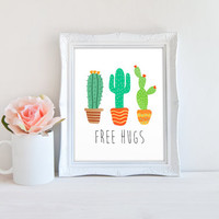 Free Hugs Cactus Printable Sign, Ironic Cacti Digital Wall Art Template, Instant Download, 8x10