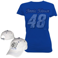 Checkered Flag Jimmie Johnson Ladies Adjustable Hat and T-Shirt Combo Pack - Royal Blue/White - http://www.shareasale.com/m-pr.cfm?merchantID=7124&userID=1042934&productID=540343952 / Jimmie Johnson