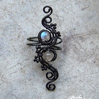 Black and labradorite wire wrapped ear cuff by bodaszilvia on Etsy
