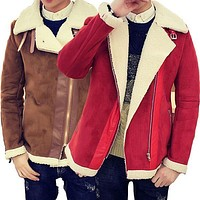 Fall-Shearling Winter Coat Faux Fur Suede Jacket Sid Zip Lamb Wool Mens Sheepskin Coat-1