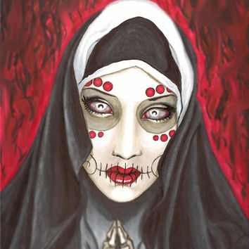 "Day of the Dead Praying Nun ""Revelation"" 12x18 stretched canvas"