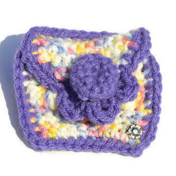 Multicolored Handmade Crochet Coin Pouch Crocheted Cosmetic Makeup Clutch Bag Lined Bags & Purses Money Purse @MystifyGifts Gift coin purses