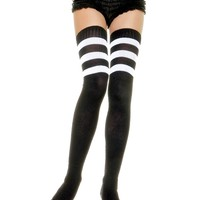 Athlete Ribbed Thigh Highs With Three Stripes Black With White Stripes