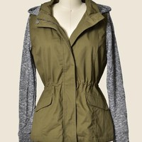 SALE Olive Jacket w/ Grey Sleeves