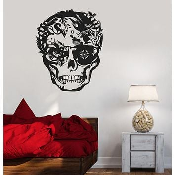 Vinyl Decal Skull Horror Tribal Decor Teen Room Wall Stickers Unique Gift (ig2643)