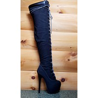 """Jaylo Polly Lace Up Sexy Work Style Black Nubuck Thigh High Biker Boot 6"""" Heel"""