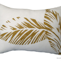 SALE_Gold print pillow - Gold Leaves Cushion
