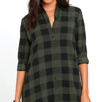 BB Dakota Holly-Anne Green Plaid Shirt Dress
