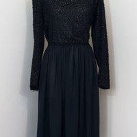 Vintage 80s/90s Black Sheer ShimmeryLong Sleeve Dress- M/L