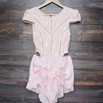 Final Sale - Thalia Crochet Cap Sleeve Short Romper in Baby Pink