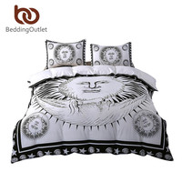 BeddingOutlet Sun God Bedding Set Moon God Black and White Comforter Cover Cozy Twin Full Queen King Qualified Duvet Cover Set