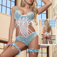 Blue Floral Lace Strappy Teddy Lingerie