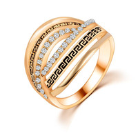 Gold/Silver Plated Crystal Ring For Women Love Engagement