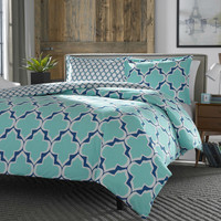 King 100% Cotton Reversible Comforter Set with Teal White Blue Trellis Pattern