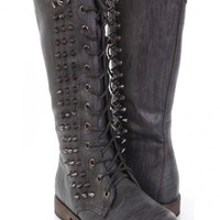 Dark Grey Faux Leather Spike Studded Combat Boots