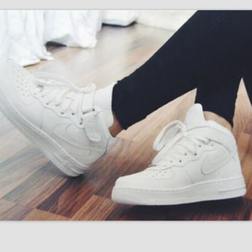 NIKE Women Men Running Sport Casual Shoes Sneakers Heudauo high tops White