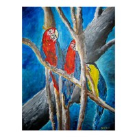 parrot tropical oil painting art print
