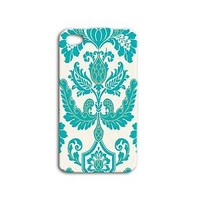 Beautiful Damask Pattern Turquoise Cute Phone Case iPhone White Cover Cool