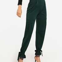 SHEIN Green Office Lady Ruffle Detail Knot High Waist Solid Elegant Pants Autumn Workwear Casual Women Trousers