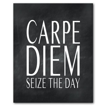 Carpe Diem - Seize the day - Inspiration - Typography Word Art - inspirational print - Latin phrase - quote - chalkboard, vintage look