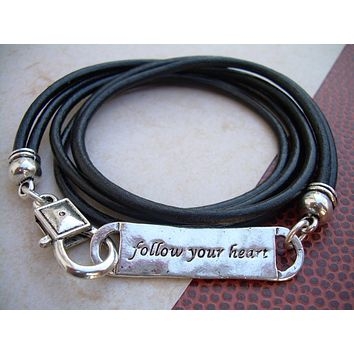 Follow Your Heart Leather Bracelet,Triple Wrap  Antique Silver/ Double Strand Black, Mens Jewelry, Womens Jewelry, follow your heart