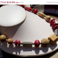 SALE Vintage Wooden Bead necklace silver findings