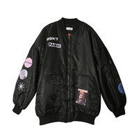 DON'T PANIC Bomber Jacket (Black) | STYLENANDA