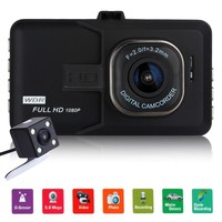 "Novatek 3"" Dual Lens Car DVR Camera 1080P Full HD G-Sensor WDR Video Registrator Recorder Camera With Rear View Camera Dash Cam"