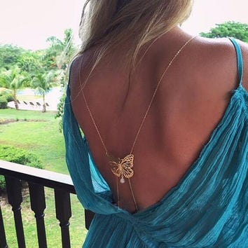 Trendy Jewelry Body Chain Belly Women Body Chain Back Gold Silver Butterfly Simulated-pearl Pendant Chain Necklace For Women