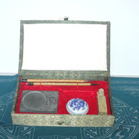 Vintage Chinese Sumi Calligraphy Set, Antique Chinese Decor, Antique Alchemy