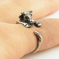 Animal Wrap Ring - Cow - White Bronze - Adjustable Ring - keja jewelry